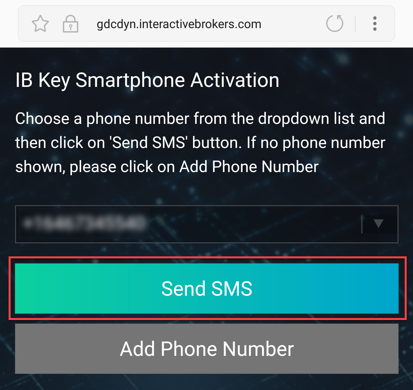 Specify Phone Number and tap Send SMS