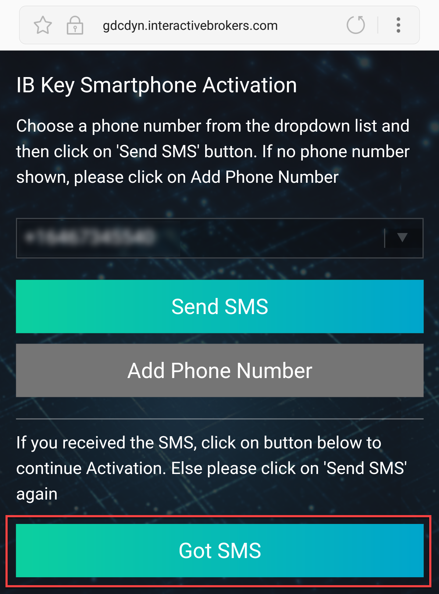 SMS received, tap Got SMS
