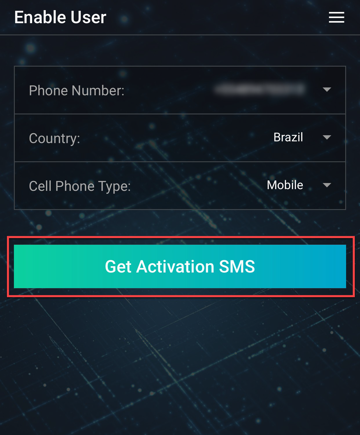 IB Key - Click Get Activation SMS