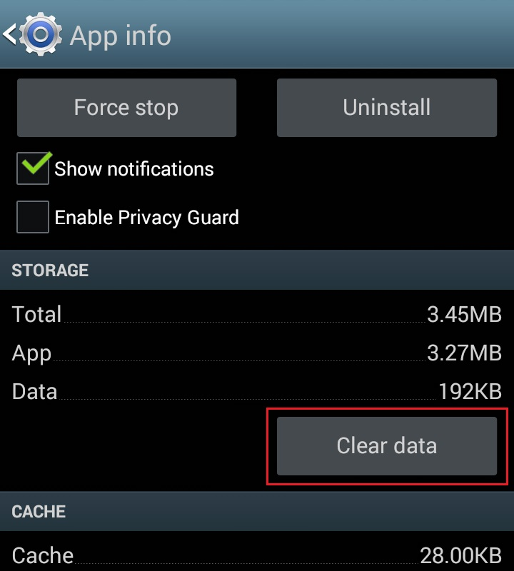 how to delete app data on android
