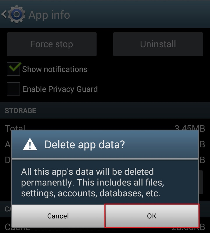 Delete app data -> OK