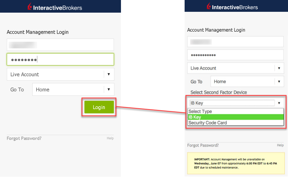 Acct Mgmt Login -> Select Second Factor Device
