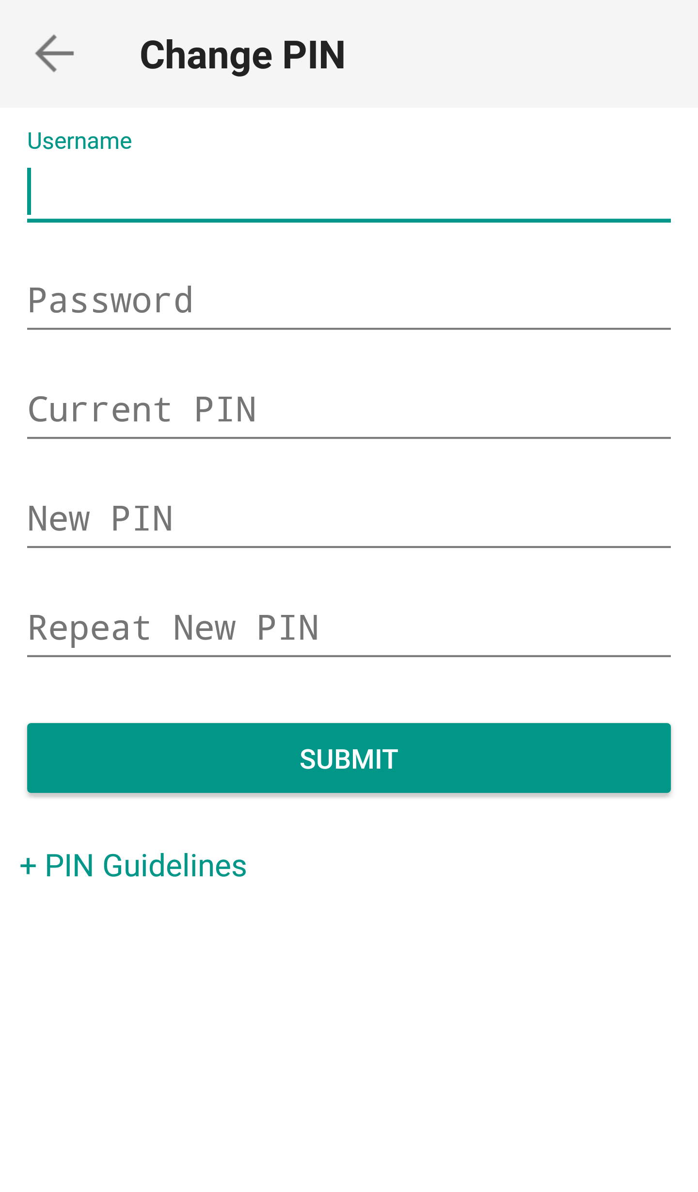 IB Key, enter SMS Code and tap Submit Pin Change