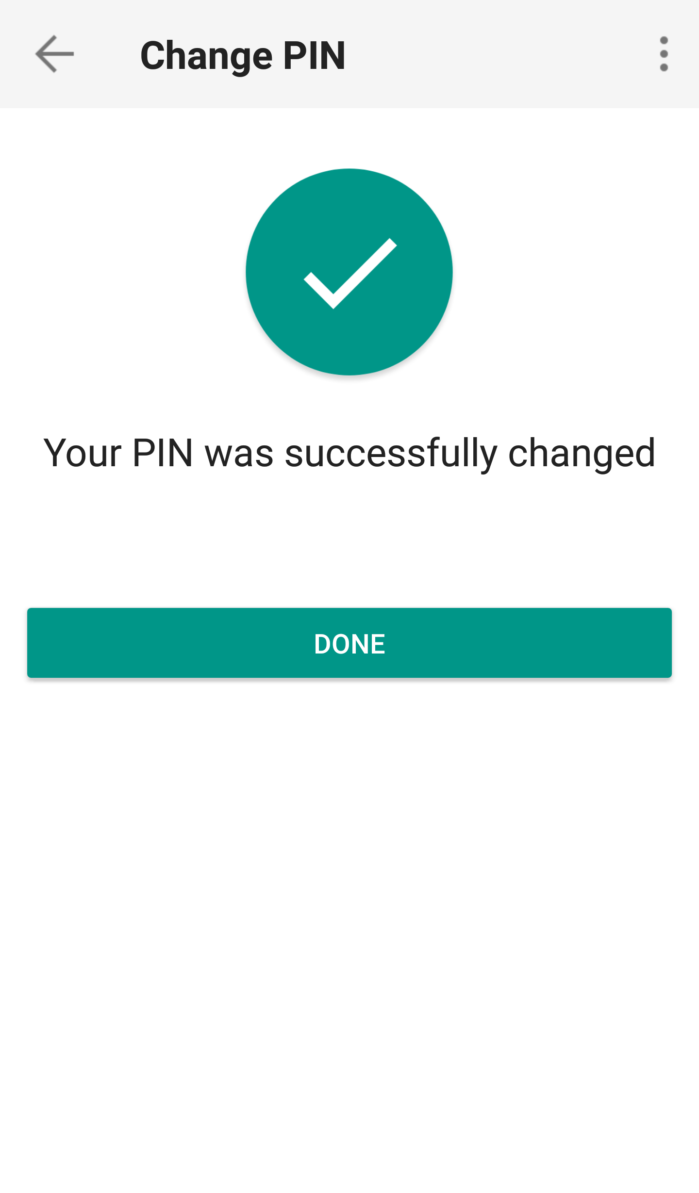 IB Key, PIN change successfully processed, tap Go to start page