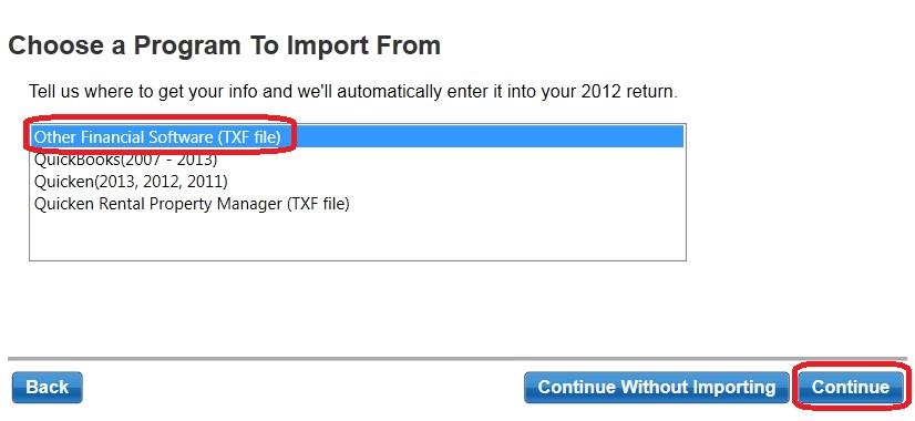 Importing options trades into turbotax