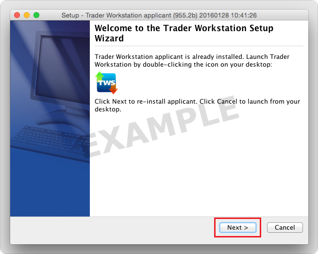 TWS Installation Wizard - Next