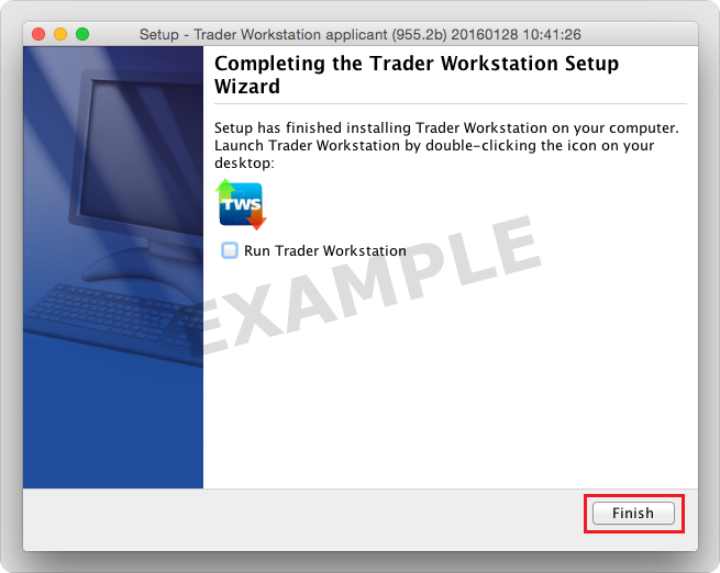 TWS Installation Wizard - Click Finish