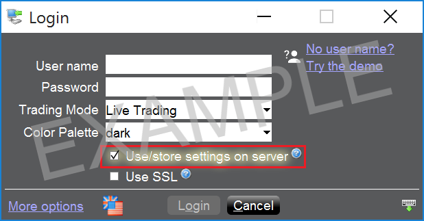 "Check the box ""Use/Store Settings on server"""